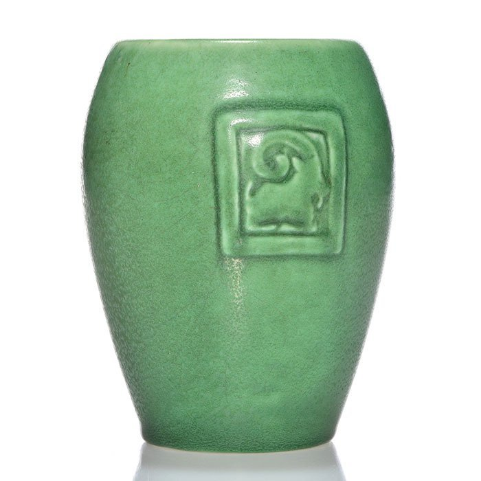 Rookwood mat vase, Rams head, Munson, '01, 5 3/8""