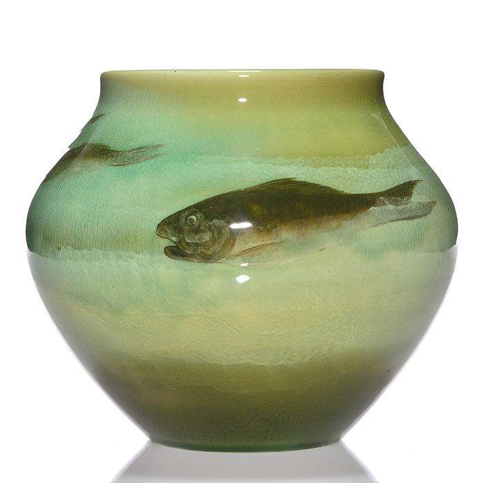 """Rookwood Sea Green, fish, Hurley, 1901, 906 B, 7"""""""