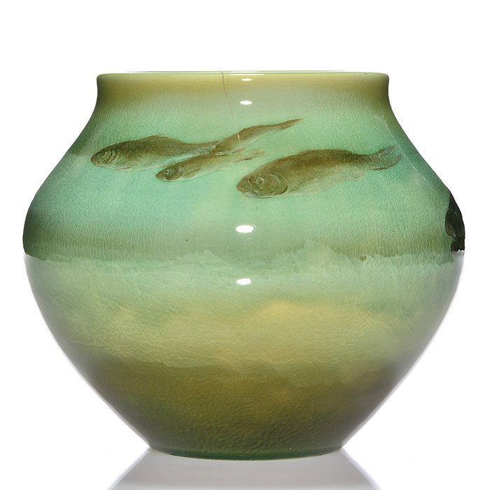 """Rookwood Sea Green, fish, Hurley, 1901, 906 B, 7"""" - 2"""