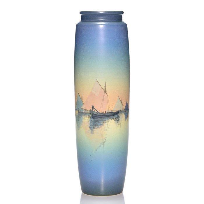 "Rookwood Vellum vase, Schmidt,Venice, 12 3/8"""
