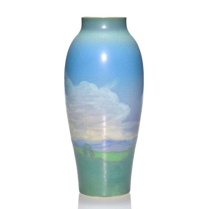 """Rookwood Vellum scenic vase, Caven, 1917, 8"""" - 2"""