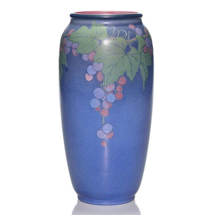 "Rookwood Vellum vase, grapes, Asbury, 1930, 9"""