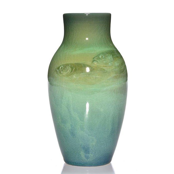 "Rookwood Iris vase, fish, Hurley, 1905, 926 D, 7"" - 2"