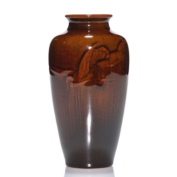 """Rookwood Mahogany vase, birds, 1897, 5 7/8"""""""