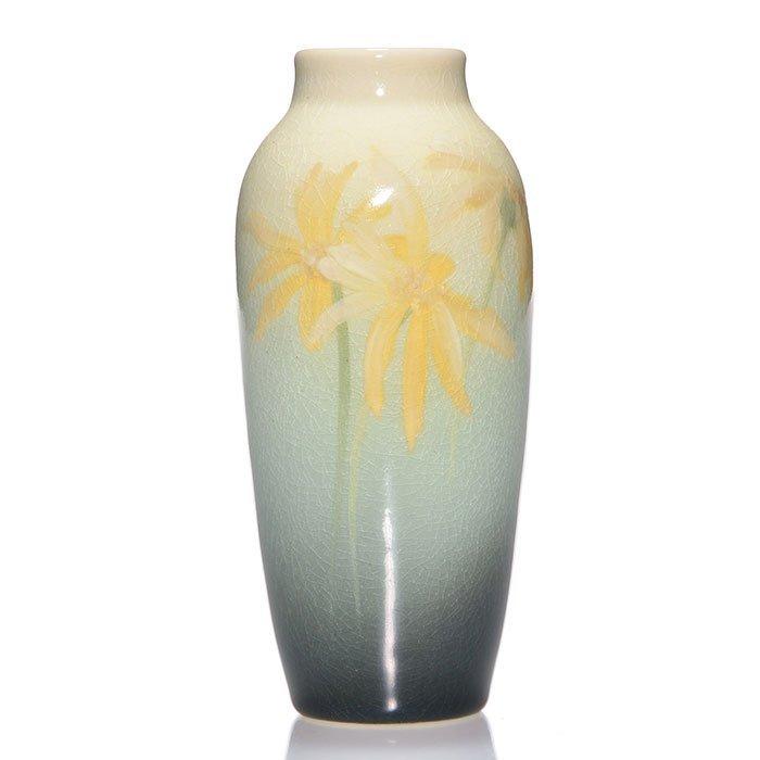 "Rookwood Iris vase, daisies, Lindeman, 1904, 5 1/2"""