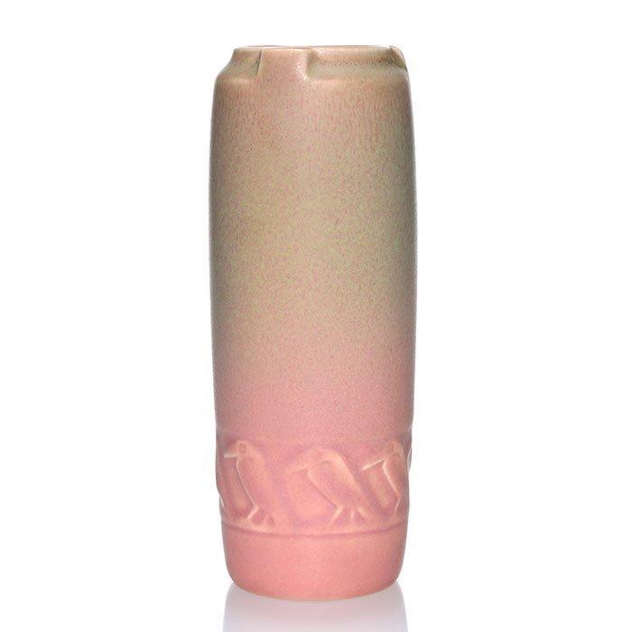"""Rookwood 6 5/8"""" vase, molded rooks, pink mat"""