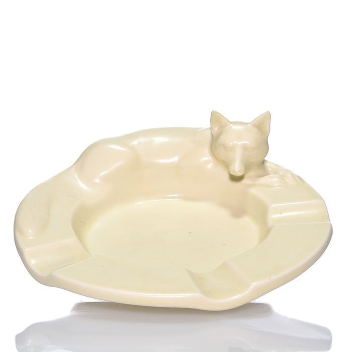 Rookwood Fox ashtray, 1937, 2647, 2 3/8 x 6 1/2""