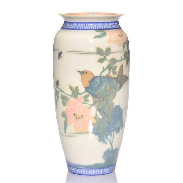 "Rookwood Porcelain vase, Conant, bird, 1921, 2544,8"""