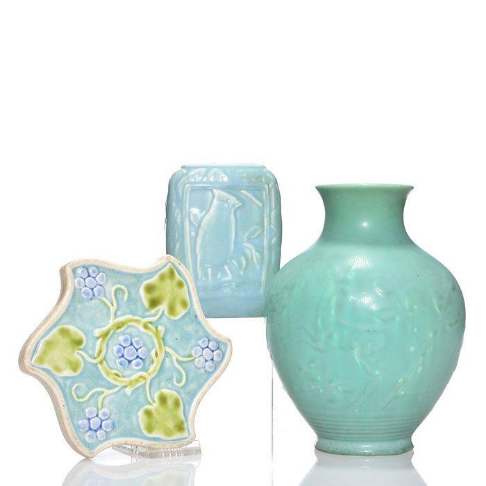 """Rookwood 2 vases, trivet, mat, 1934, 6053, 7 1/2"""""""