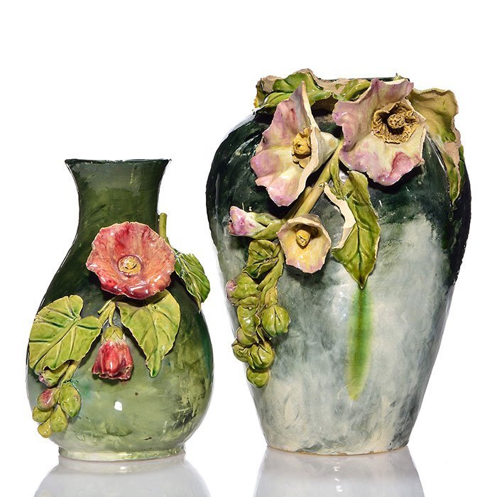 "2 Wheatley vases, applied flowers, 9 1/4"", 12"""