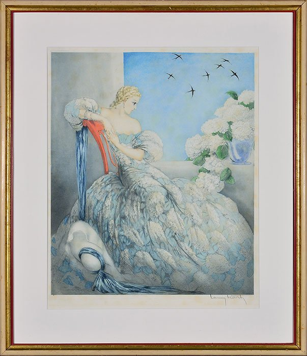 """Louis Icart etching, Symphony in Blue, 24"""" x 20"""""""