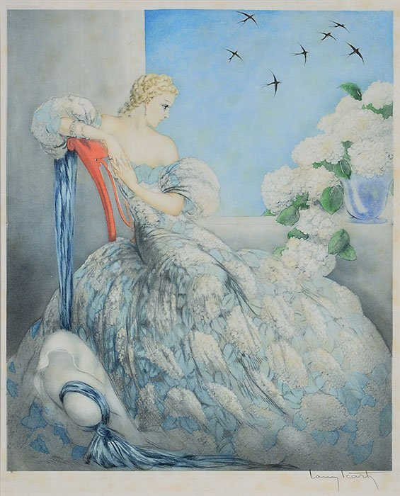 """Louis Icart etching, Symphony in Blue, 24"""" x 20"""" - 2"""