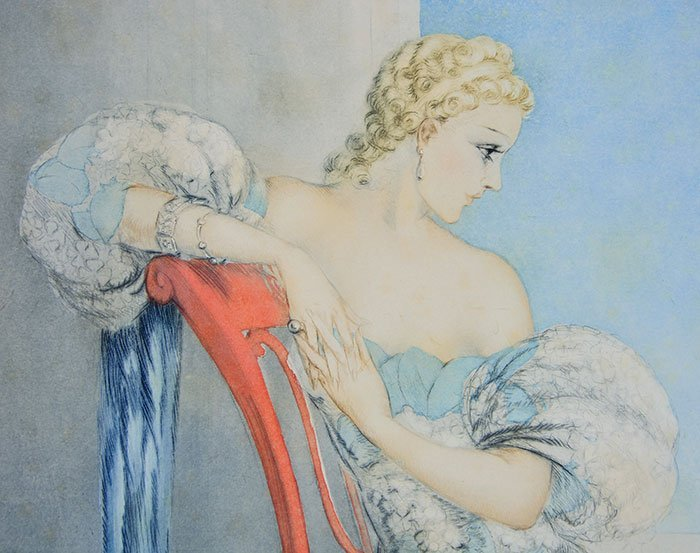 """Louis Icart etching, Symphony in Blue, 24"""" x 20"""" - 3"""