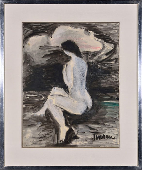 "Jens Jensen oil on paper, nude,  25 1/2"" x 19 1/2"""