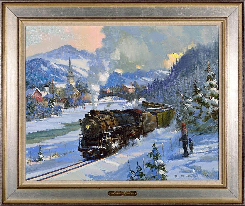 "David Tutwiler O/C train in snow, 24"" x 30"""