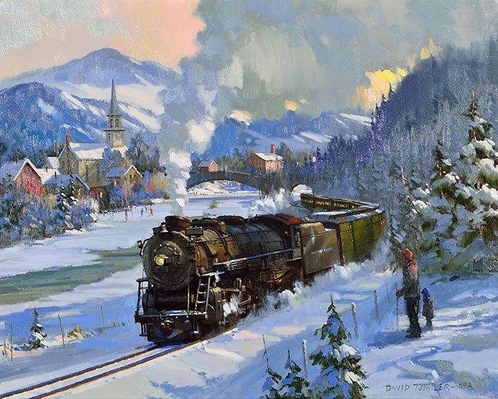 "David Tutwiler O/C train in snow, 24"" x 30"" - 2"