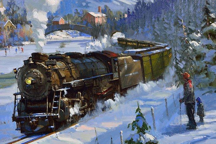 "David Tutwiler O/C train in snow, 24"" x 30"" - 3"