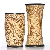 2 Weller Knifewood vases, 9 inches, 7 1/4 inches
