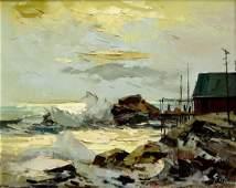 Geza Marich (1913-1982) Fishing Hut on Rocky Coast