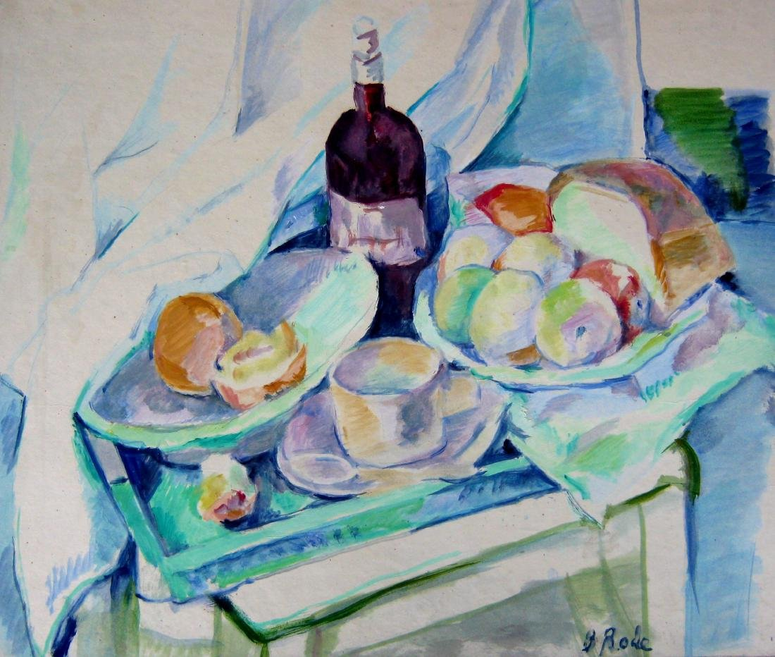 Barbara Rode (1889-1969) Still Life with Fruit & Wine