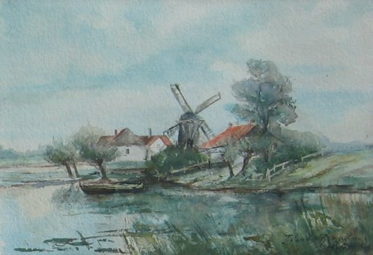 12: Farm & Windmill by Lake