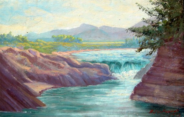 24: Waterfall in Hilly Landscape