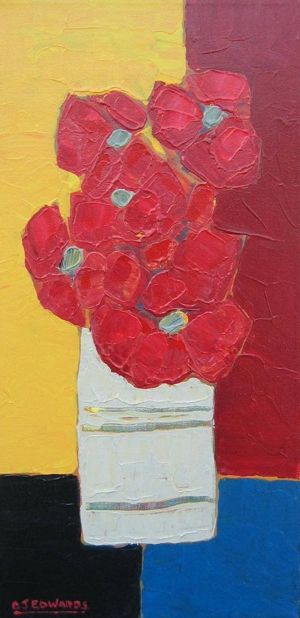 73: Red Flowers in an Old White Vase