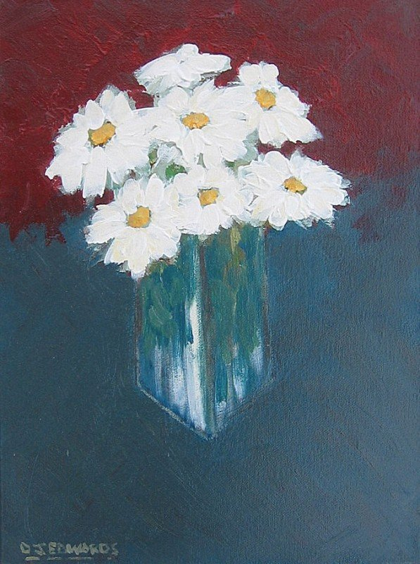 19: White Daisies in a Glass Vase