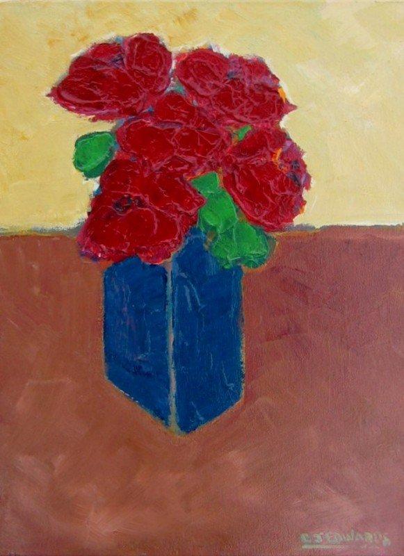 23: Roses in a Blue Vase