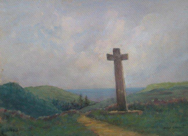 23: Stone Cross in Coastal Landscape