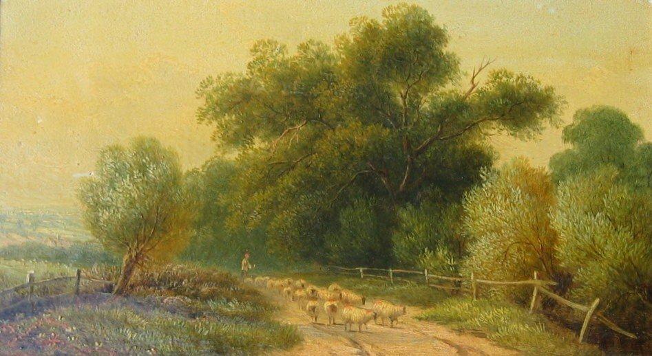 3: Shepherd & Sheep on Country Lane