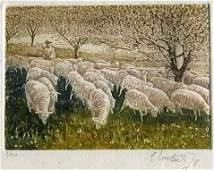 14: Shepherd & Sheep in Orchard