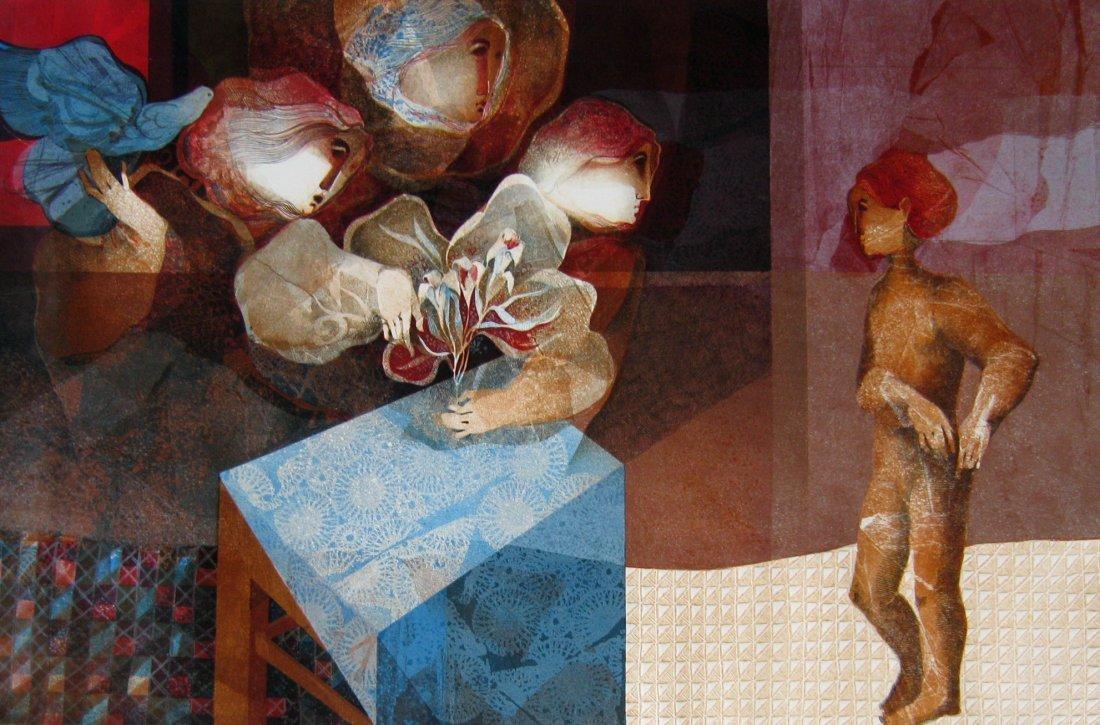 2: Figures with Bird & Flowers