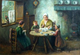 Family Seated Around Meal Table