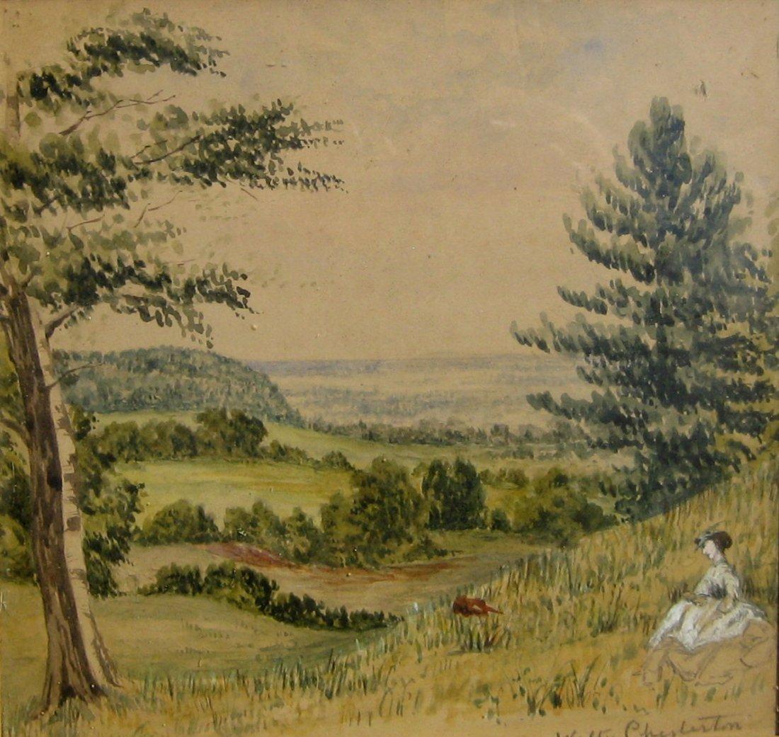 Lady on Hillside; Cottage in Landscape