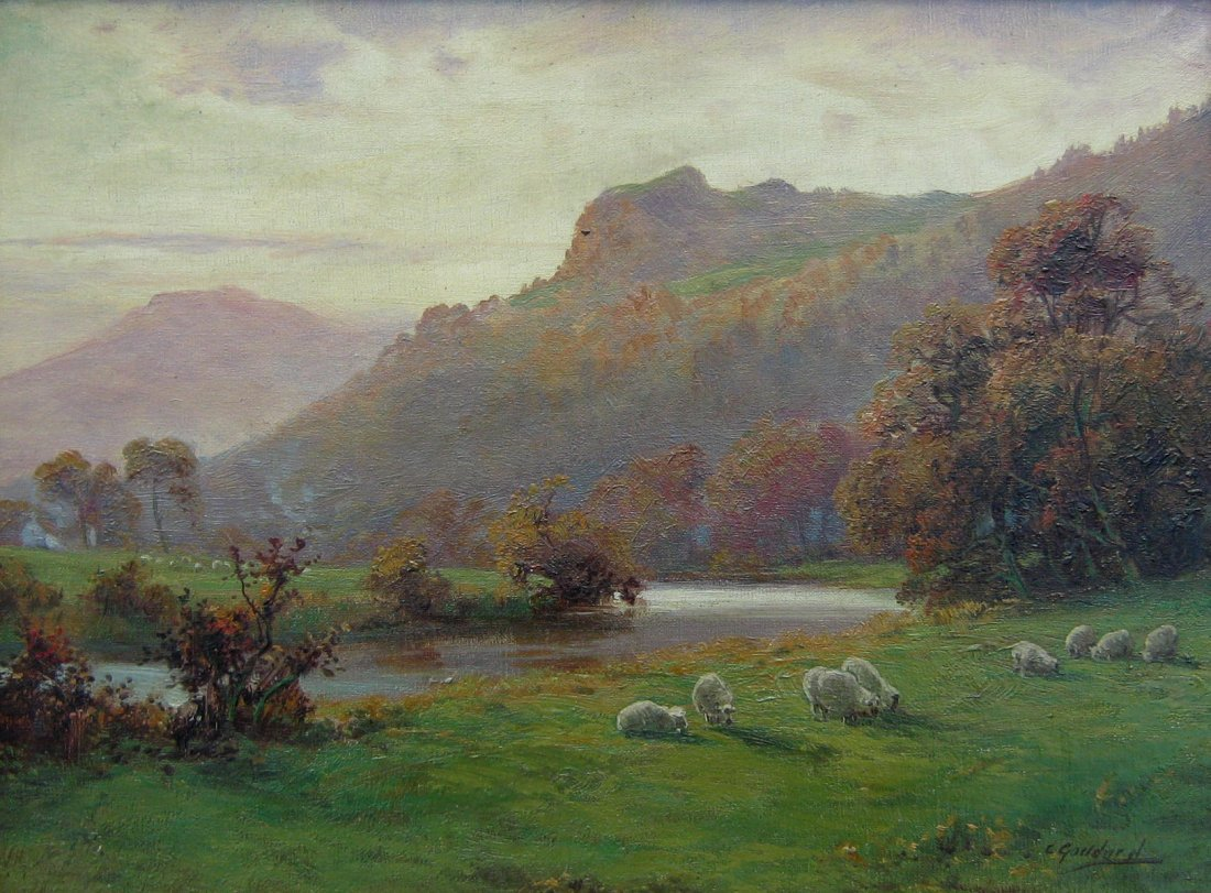 Sheep by River; Sheep by Mountain Stream