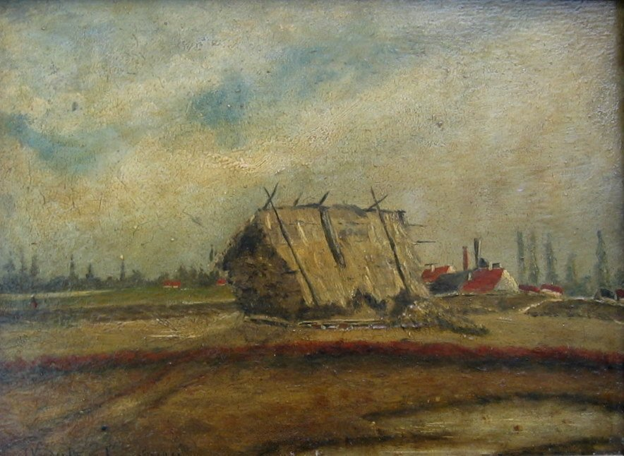 Haystack near Dutch Village; Farm and Windmill on River