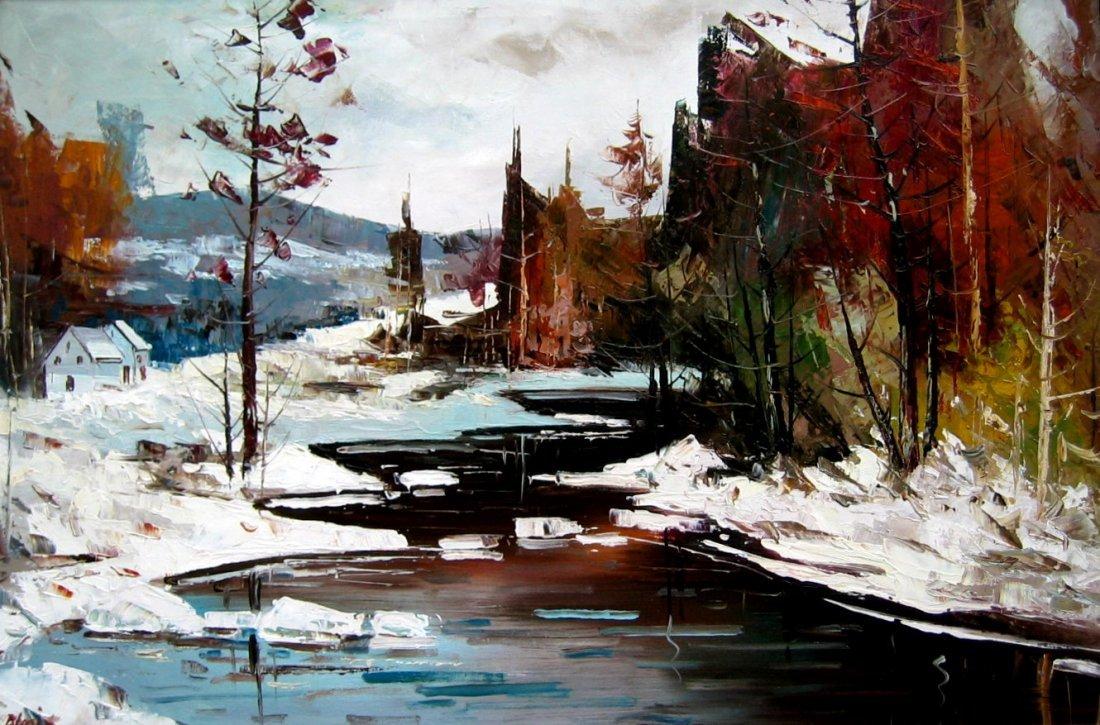 Cabin in Winter River Landscape