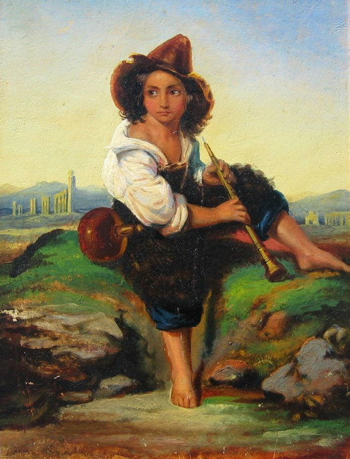 Shepherd Boy and Flute with Ruins in Background