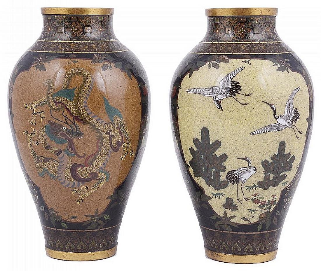 A PAIR OF JAPANESE CLOISONNE VASES, MEIJI PERIOD
