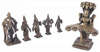 FIVE SMALL BRONZE IMAGES, SOUTH INDIA, 18TH CENTURY AND