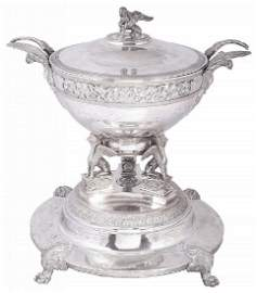 A GERMAN SILVER SOUP TUREEN, COVER AND STAND, CARL