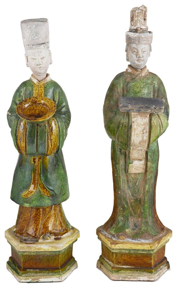 A PAIR OF CHINESE SANCAI GLAZED POTTERY FIGURES OF