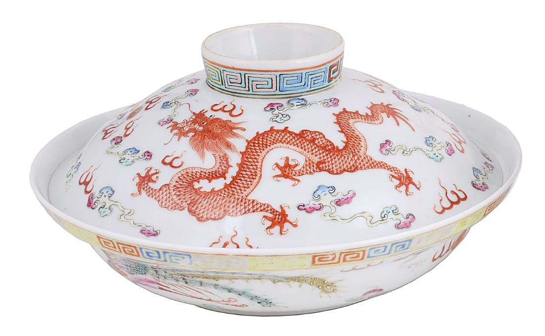 A CHINESE FAMILLE ROSE BOWL AND COVER  GUANGXU MARK AND