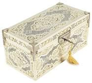 ˜A CHINESE IVORY TEA CADDY CASKET CANTON CIRCA 1750