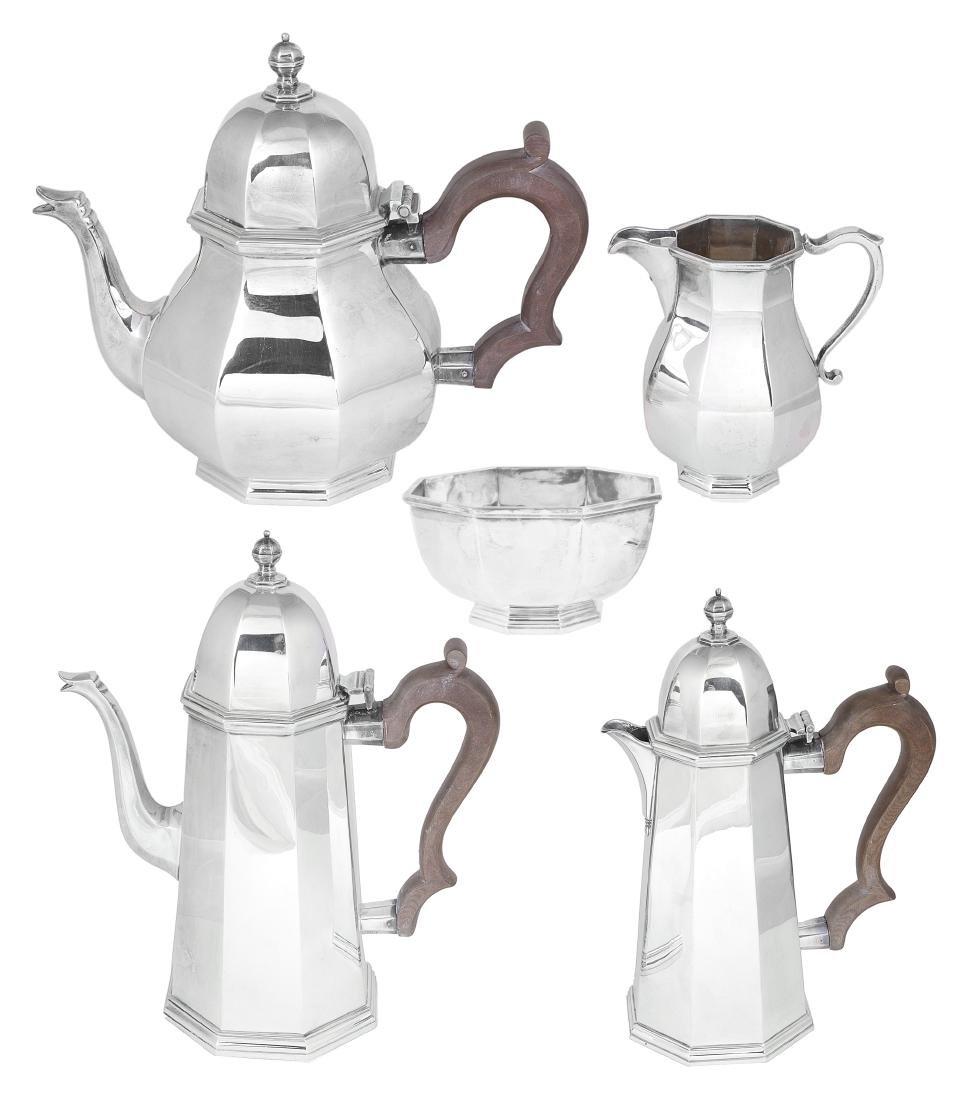 A FIVE-PIECE SILVER TEA AND COFFEE SET  C.J. VANDER