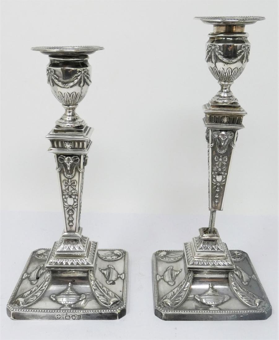 A PAIR OF VICTORIAN SILVER CANDLESTICKS  WILLIAM HUTTON