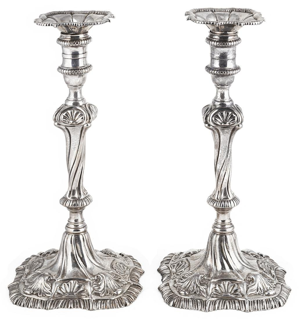 A PAIR OF GEORGE III SILVER CANDLESTICKS  WILLIAM