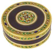 A FRENCH ENAMELLED GOLD SNUFF BOX AND COVER  MAKERS