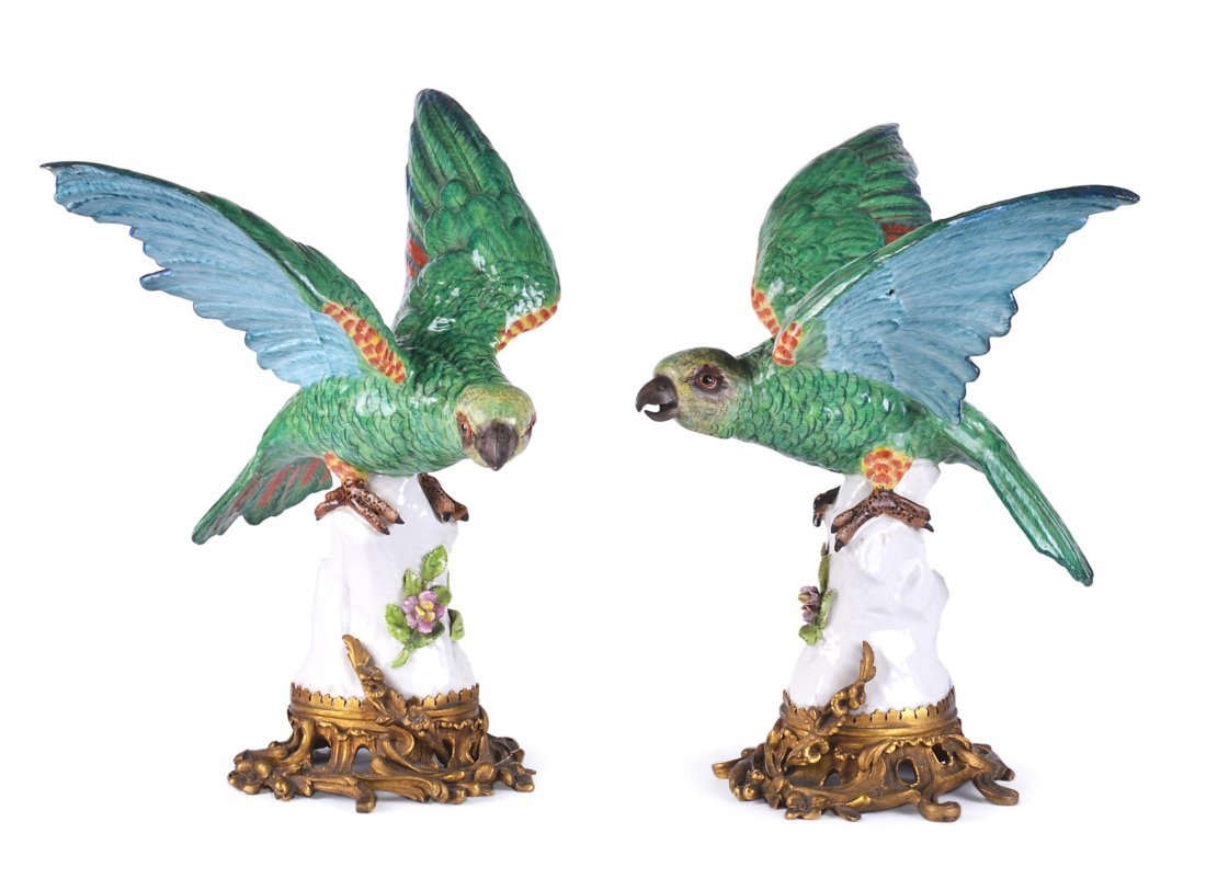 1: A PAIR OF SAMSON MODELS OF GREEN PARAKEETS, CIRCA 19